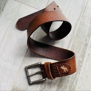 A&F Butter Brown Leather stitched Belt white Moose